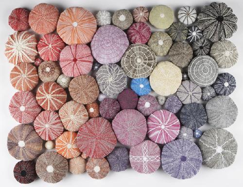 Knitted urchin installation